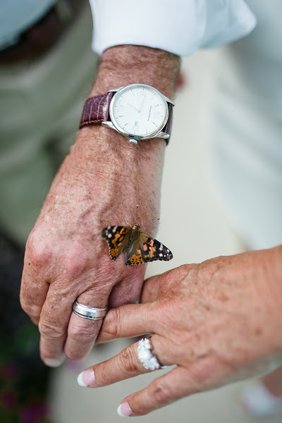 The Bride and Groom with their butterfly release - An intimate backyard wedding reception in Rockford IL near Sinnissippi with close friends and family.
