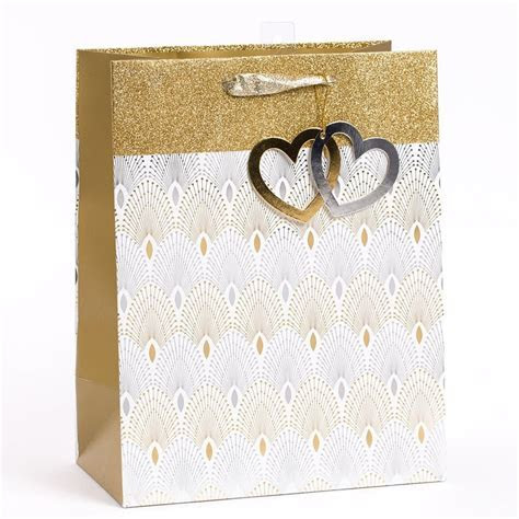Wedding Gold & Silver Heart Large Gift Bag   Everyday