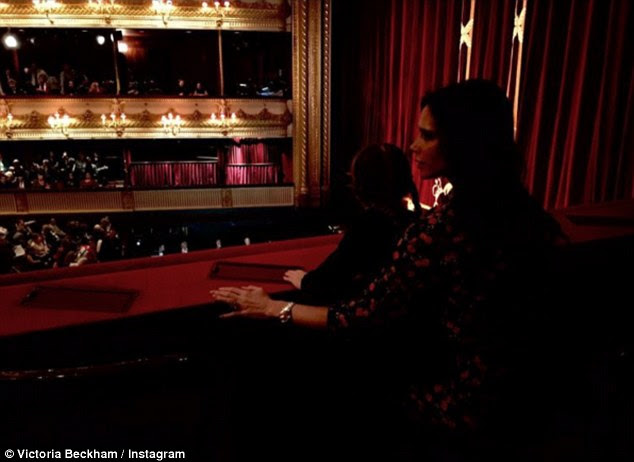Magical evening: Victoria and Harper  enjoyed an evening at London's Royal Opera House on Wednesday for a performance of Christmas ballet The Nutcracker