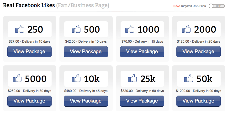 Facebook Fraud - Boost Likes Packages
