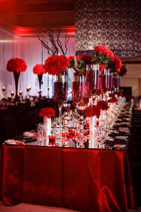 Red Wedding Table Settings & Epic Image Of Dining Room