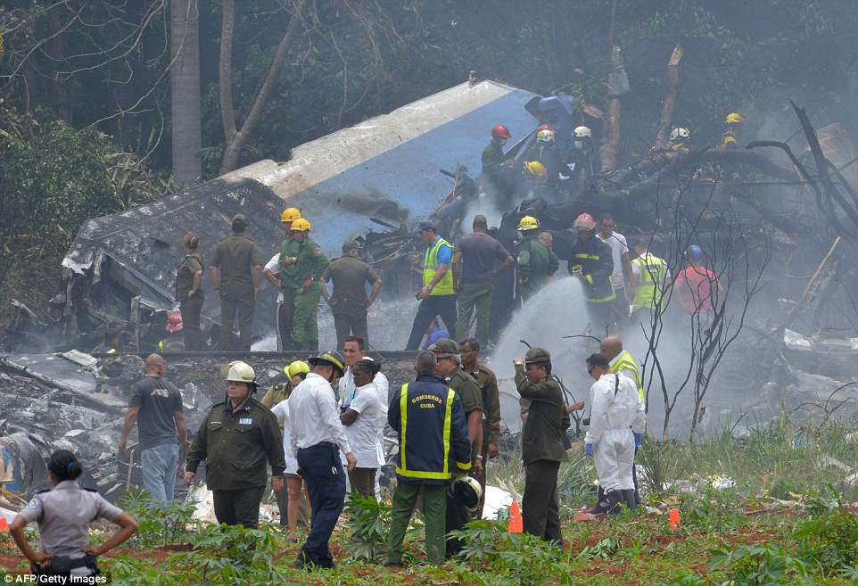 A Boeing 737 plane has crashed moments after taking off from Havana's Jose Marti International Airport - just one day after more than a third of its fleet were grounded over safety concerns (pictured is the wreckage)