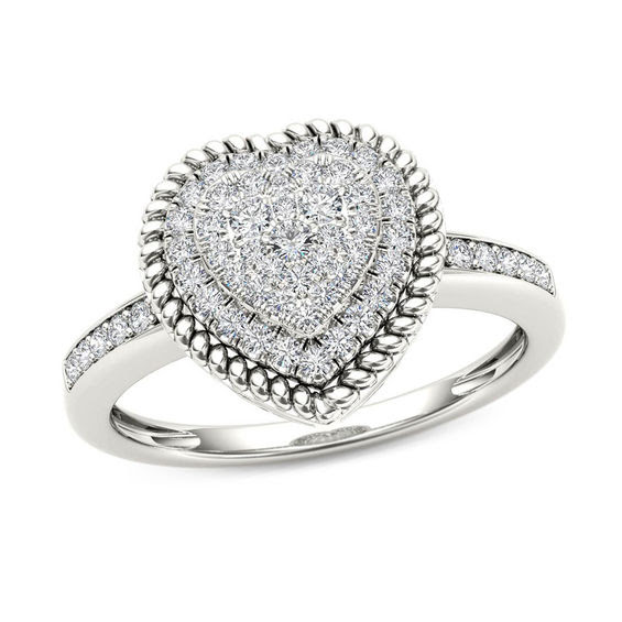14 Ct Tw Composite Diamond Heart Shaped Rope Frame Ring In 10k