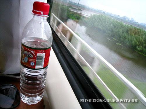 water bottle in train