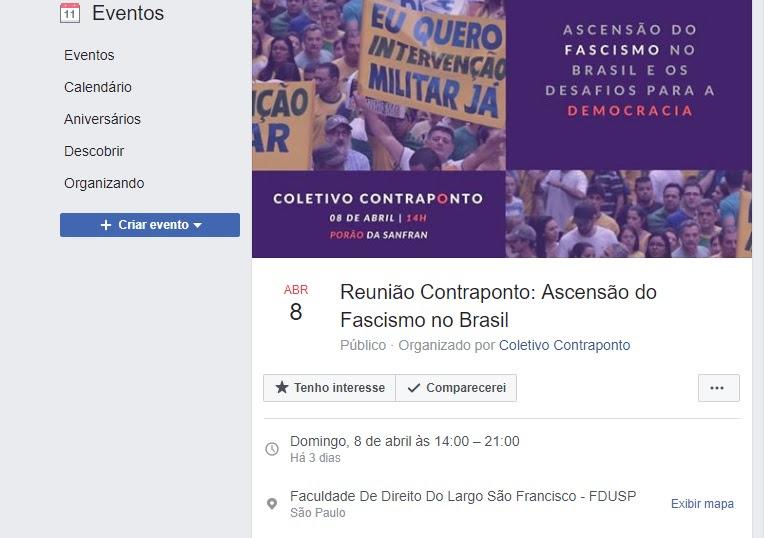 """Coletivo Contraponto, que ficha judeus, fez evento contra a """"ascensão do fascismo no Brasil"""""""
