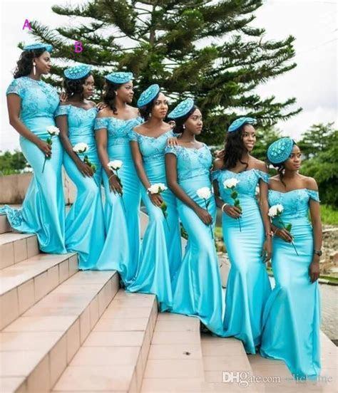 South African Mermaid Bridesmaid Dresses Turquoise Jewel