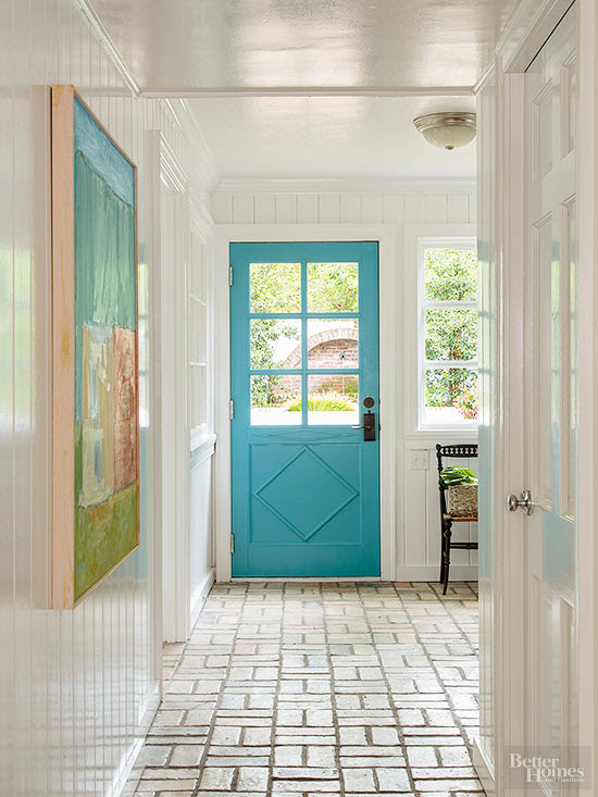 bright turquoise painted door
