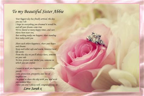 PERSONALISED TO MY SISTER ON HER WEDDING DAY POEM IDEAL