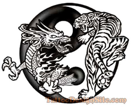 Yin Yan Dragon And Tiger Tattoo Design