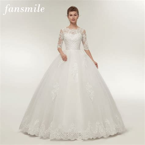 Fansmile Real Photo Vintage Lace Up Ball Wedding Dresses