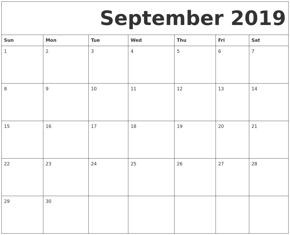 september 2019 free printable calendar