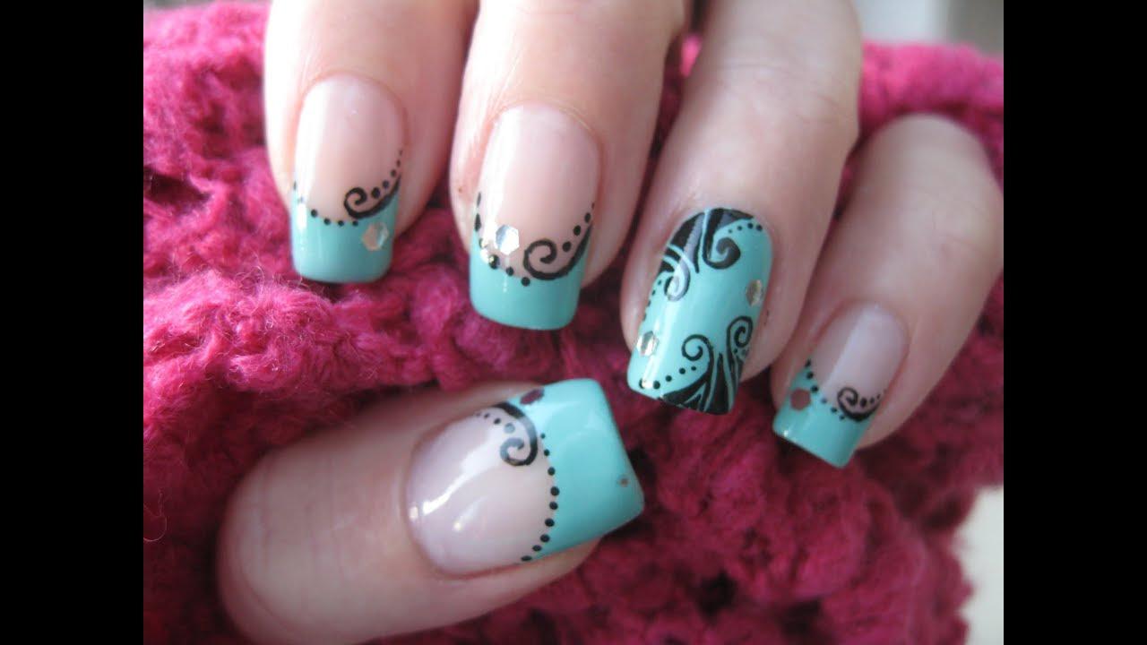 Nail art: Nostalgic decorations on turquoise - YouTube