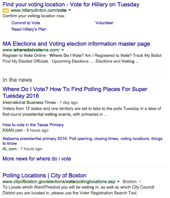 find your polling station serp result
