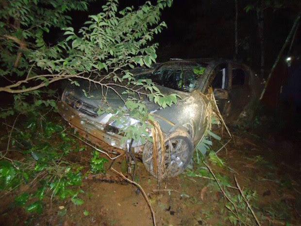 Em Congonhal, MG, uma pessoa morreu depois que o carro em que estava bateu em uma árvore (Foto: PRF Pouso Alegre)