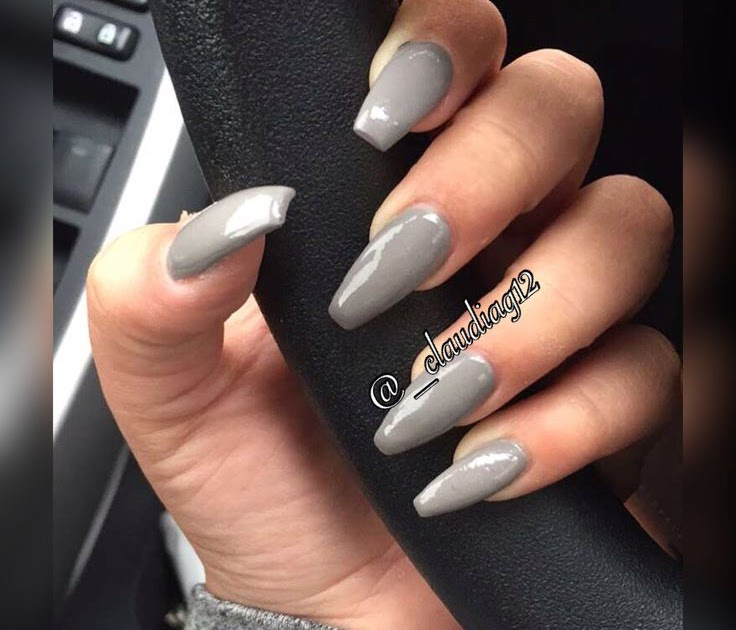 Coffin Matte Grey Nails With Glitter Nail And Manicure Trends