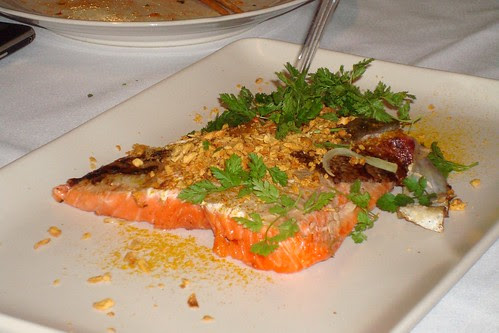 Sea Trout Baked with Dashikombu, Fried Garlic and Japanese Curry Powder