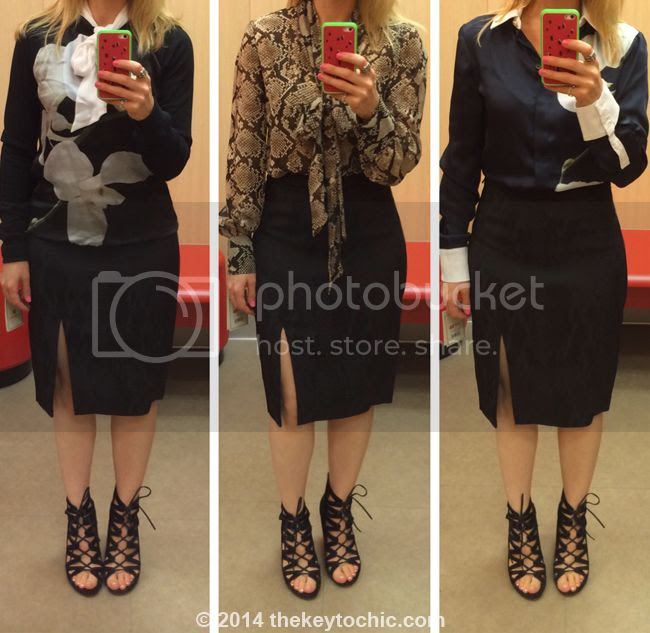 Altuzarra for Target black pencil skirt and orchid blouse