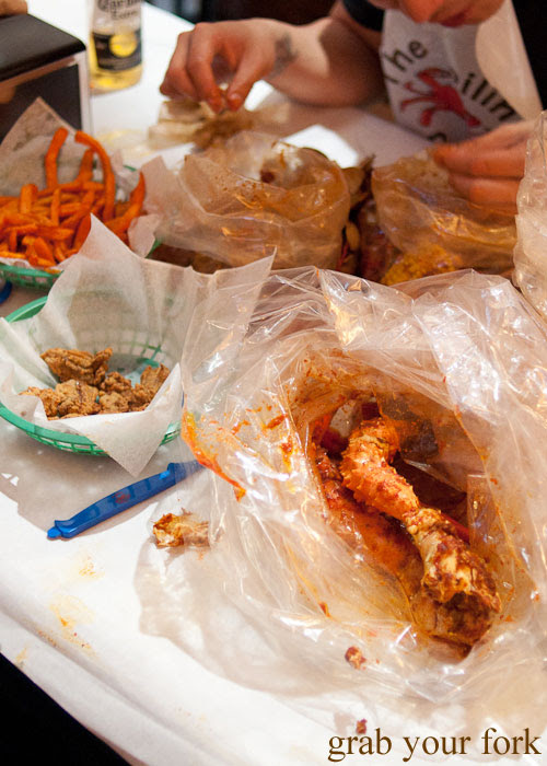 Seafood feast Boiling Crab Korea Town Los Angeles California
