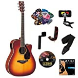 Yamaha FGX720SCA Brown Sunburst Acoustic-Electric Guitar Bundle w/Legacy Kit (Tuner DVD,Capo and More)