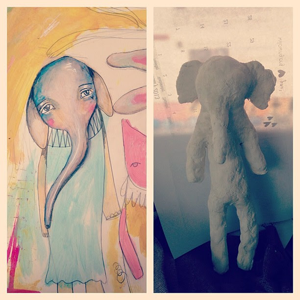 I felt inspired by my elephant drawing the other day and wanted to make a similar art doll/ statue. So happy with it. Will be painting her and sew a little dress for her too :)