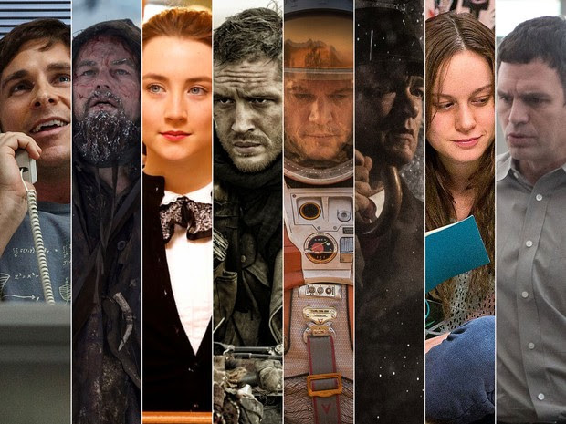 'A grande aposta', 'O regresso', 'Brooklin', 'Mad Max', 'Perdido em Marte', 'Ponte de espiões', 'O quarto de Jack' e 'Spotlight' concorrem ao Oscar de melhor filme (Foto: Montagem G1)