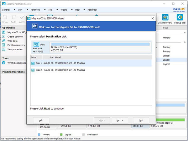 Select the destination disk to transfer Windows 10 system files to new HDD or SSD