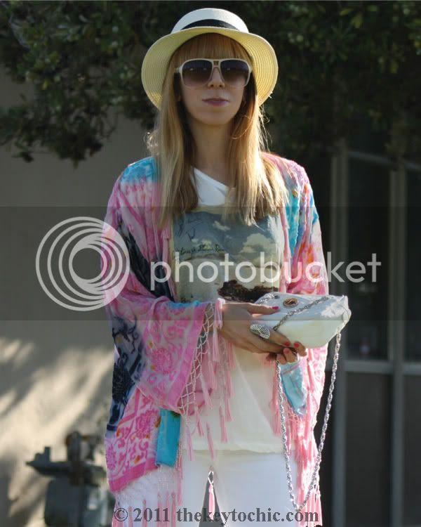 velvet fringe kimono jacket, Zara quilted handbag, H&M white flared jeans, southern California street style