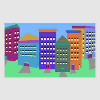 City Art on Rectangular Sticker