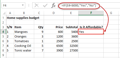 Logical functions (operators) and conditions in Excel