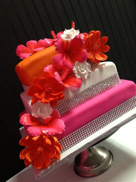 Pink and orange wedding cake   Bake My Day creations..www