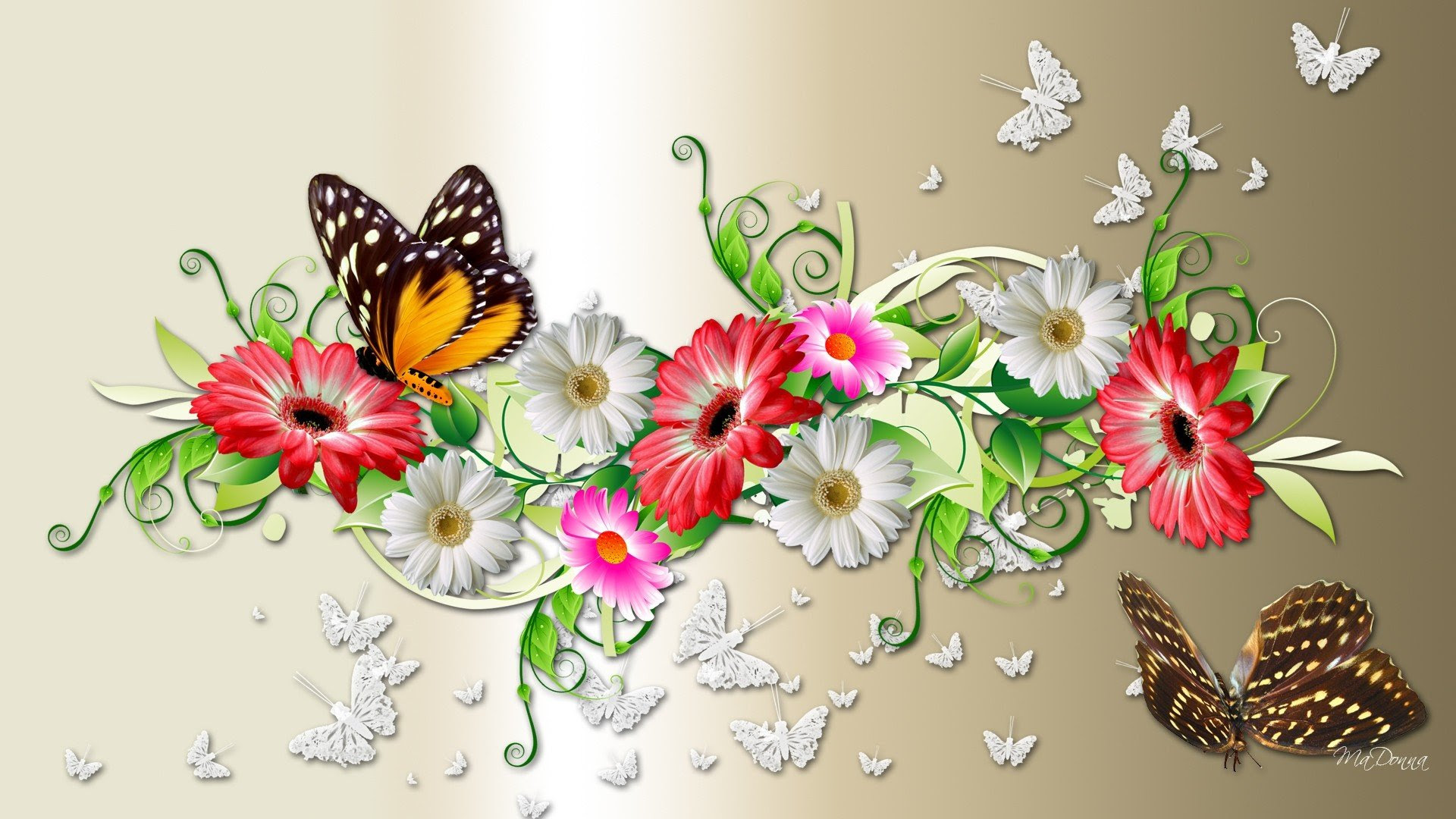 1920x1080 Px Butterflies Colors Decorations Flowers Anime One