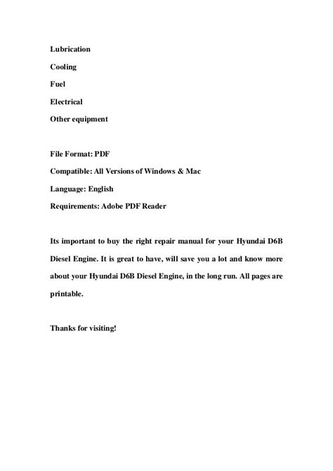 Hyundai d6 b diesel engine service repair workshop manual