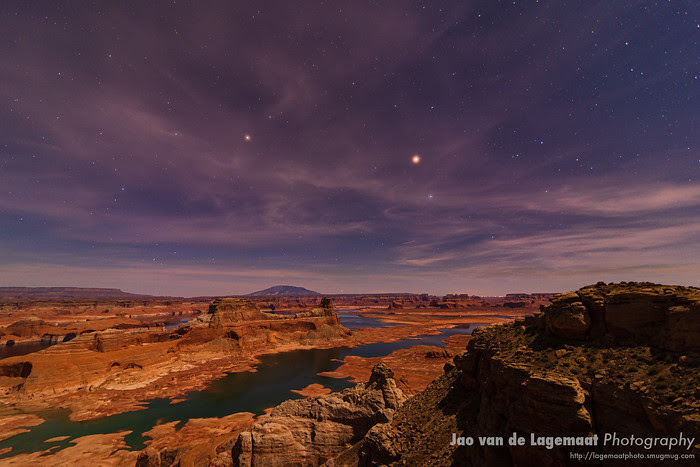 Moonlight illuminates Gunsight Butte and Lake Powell