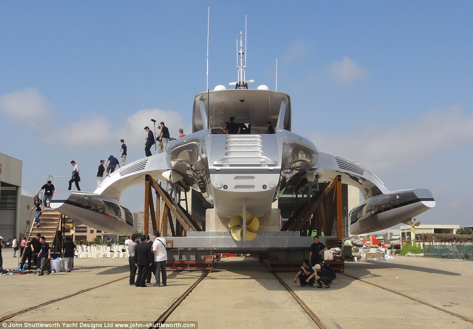 Back end: The hull of the Adastra is built from glass and Kevlar and can house nine guests and six crewmen