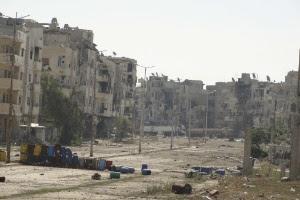 Cenário de destruição em Baidah, na Síria