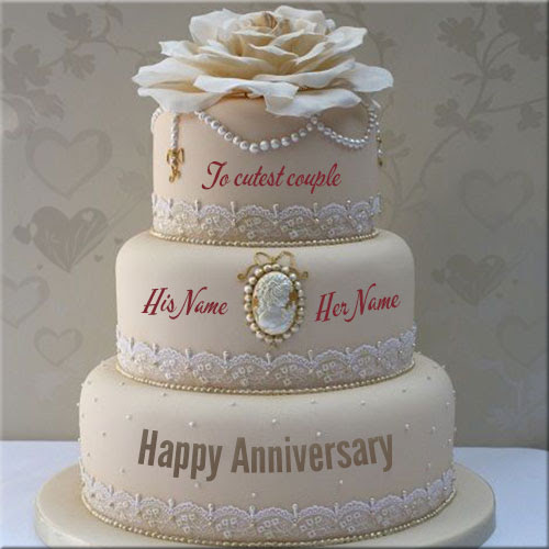 Anniversary Cake Images With Name Editing Floweryred2com