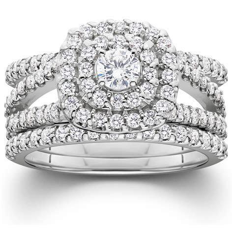 1 1/4ct Diamond Engagement Cushion Halo Wedding Ring Trio