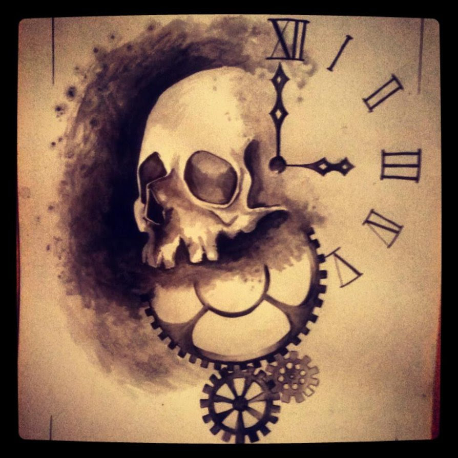 Skull Clock Drawing At Getdrawingscom Free For Personal Use Skull