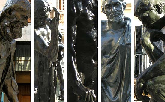 Rodin, The Burghers of Calais and The Thinker on the Passeig des Born of Palma de Mallorca