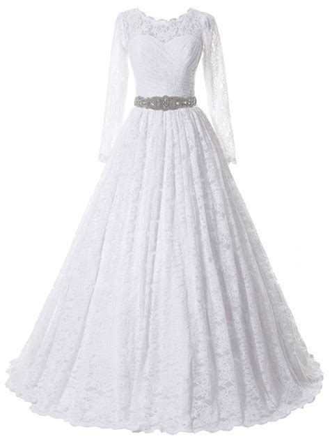 SOLOVEDRESS Women's Ball Gown Lace Princess Long Sleeves