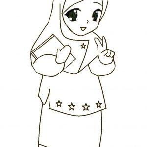 Gambar Kartun Hijab Hitam Putih Kata Kata