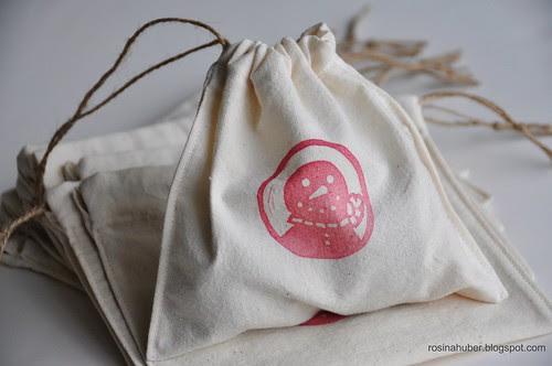 Stamped Muslin Drawstring Bags