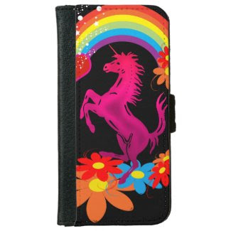 Unicorn 1 pink with rainbow flowers galaxy s4 wallet cases