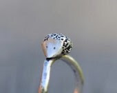 Hedgehog ring, sterling silver ring, hammered curved band, made to order - SilverBlueberry