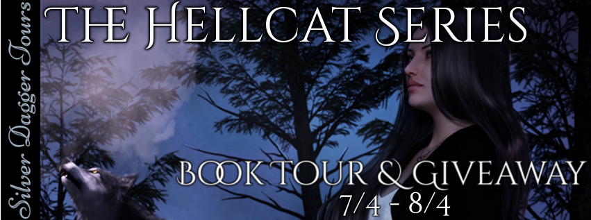 Book Tour Banner for the urban fantasy Hellcat series by Sharon Hannaford with a Book Tour Giveaway