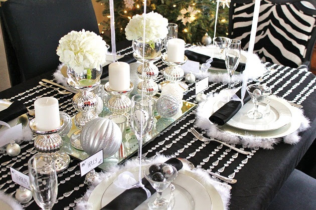 Black & White & Silver Holiday Table — Celebrations at Home