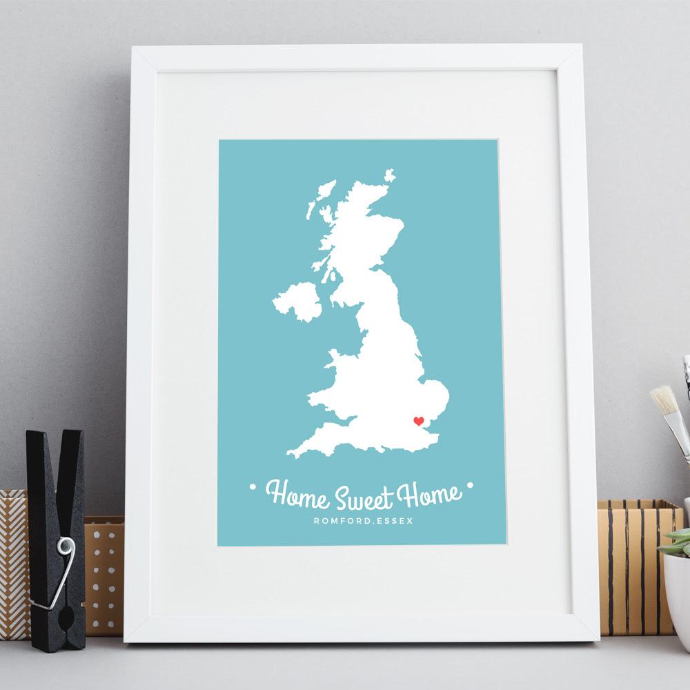 Home Sweet Home Uk Map Print Inksty