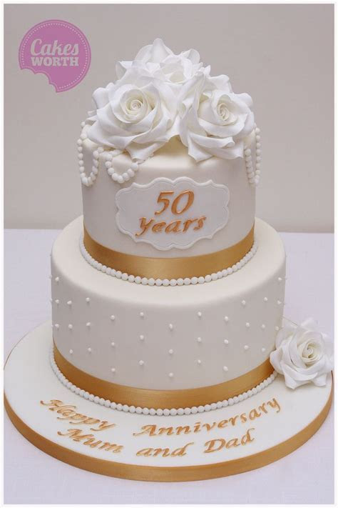 Simple and elegant 50th wedding anniversary cake with