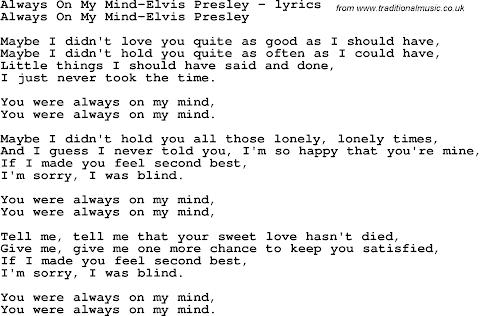 You Are Always On My Mind Lyrics Elvis