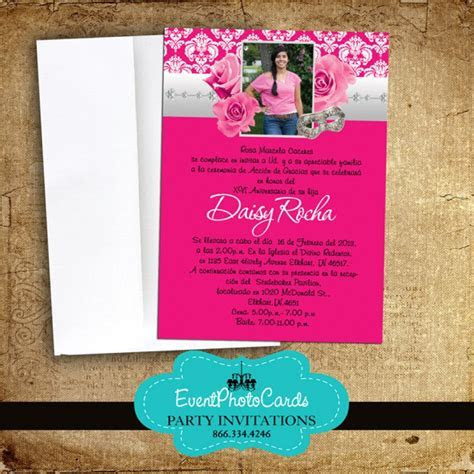 Pink Roses Quinceanera Invitations, Announcements